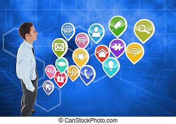 技術, 地位, 背景, に対して, 手, ビジネスマン, 抽象的, 深刻, ポケット