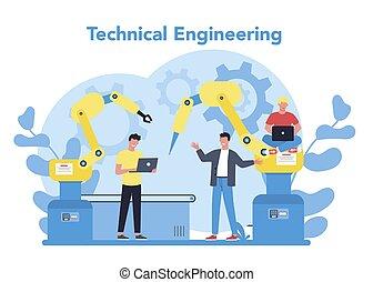 技術, 専門家, 工学, science., テクニカル, concept.