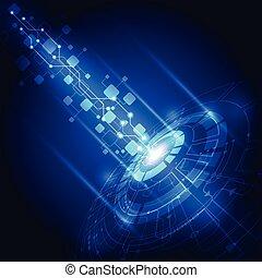技術, 抽象的, ベクトル, 背景, 未来, 電気である