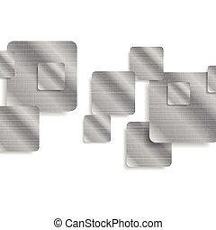 技術, 抽象的, 正方形, 金属, 背景