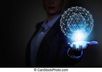 技術, 接続, 世界