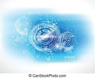 技術, 未來, 數字的背景, 矢量, 插圖