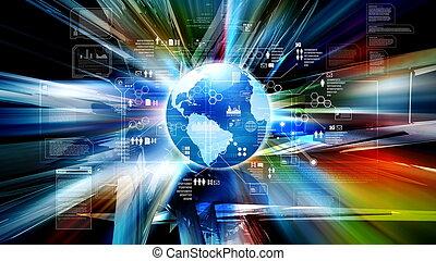 技術, 未来派, 背景, インターネット