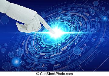 技術, 知性, スクリーン, ロボット, 事実上, 手, 感動的である, 人工, 技術, concept.