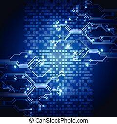 技術, 遠距離通信, 抽象的, ベクトル, 背景, 未来, 電気である