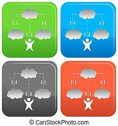 技術, 雲, アイコン
