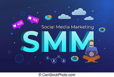 技術, concept., イラスト, 社会, 広告, ビジネス, 活気に満ちた, デジタルバックグラウンド, 同類, ベクトル, インターネット, 暗い, smm, 媒体, -, オンラインで, フィードバック, マーケティング, 従節, キャンペーン, icons., 青