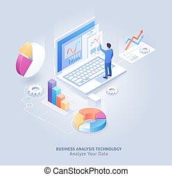 技術, illustration., ベクトル, 分析, 等大, ビジネス