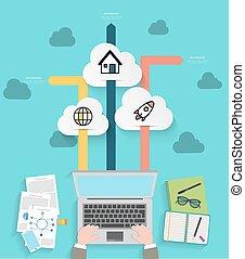 技術, infographic, 現代, 雲
