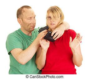 把握, 女, gunpoint, 人