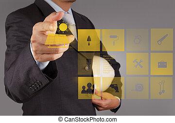 把握, 細胞, ビジネスマン, 選択肢, 太陽, 手, エネルギー