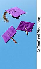 投げられた, 飛行, 部屋, ある, 後で, 卒業, 空気, 帽子, コピー