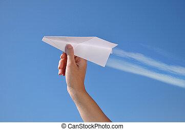 投げるペーパー, 飛行機