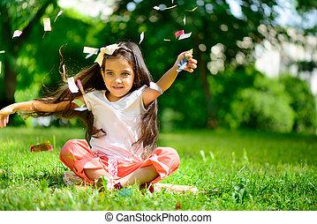 投げる, かわいい 女, 紙ふぶき, ヒスパニック