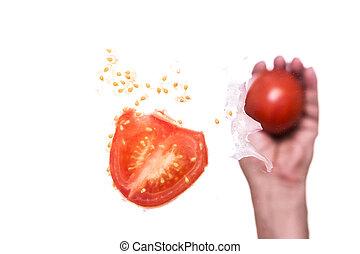 投げる, トマト, 手