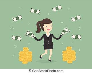 投げる, 女性実業家, 幸せ, 。, お金