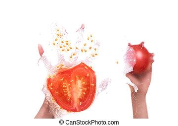 投げる, 女性, トマト, 手