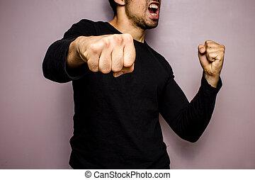 投げる, 怒る, パンチ, 人