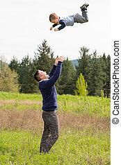 投げる, 息子, 父, 空気