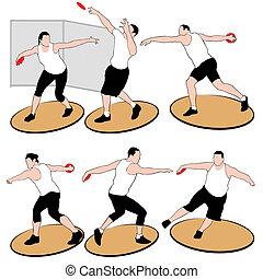 投げる, 運動選手, セット, iso, 円盤