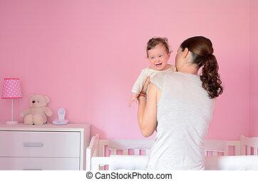 投げ, 彼女, 若い, 睡眠, 母, 赤ん坊