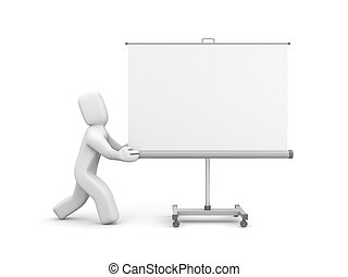 投影図スクリーン, whiteboard, 人, 押し, ∥あるいは∥