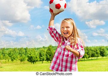 投擲, 女孩, 球, 笑