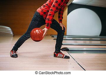 投球, ボーリング競技者, 手, ボール, クローズアップ, 作り, 光景
