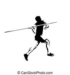 投球, 投げる, 運動選手, 隔離された, silhouette., 投げ槍, ベクトル, 運動競技