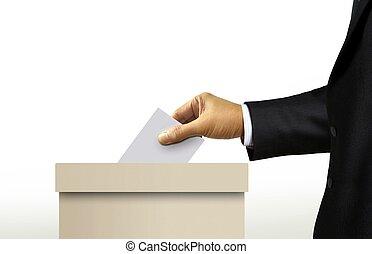 投票箱, 由于, 人, 在, 衣服, 手, 鑄件, a, 投票