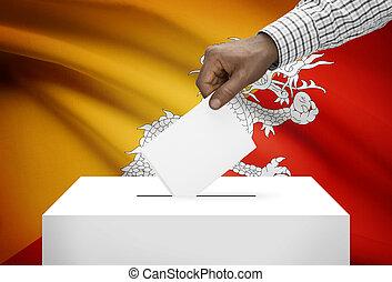 投票箱, 由于, 國旗, 在背景上, -, 不丹