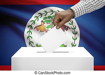 投票箱, 由于, 國旗, 在背景上, -, 伯利茲