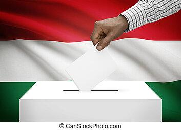 投票箱, 由于, 國旗, 在背景上, -, 匈牙利
