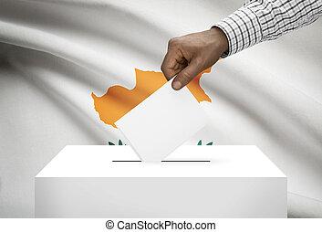 投票箱, 由于, 國旗, 在背景上, -, 塞浦路斯