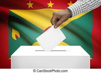 投票箱, 由于, 國旗, 在背景上, -, 格林納達