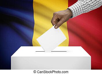 投票箱, 由于, 國旗, 在背景上, -, 羅馬尼亞