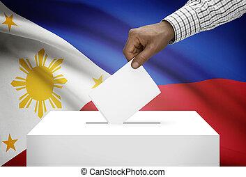 投票箱, 由于, 國旗, 在背景上, -, 菲律賓