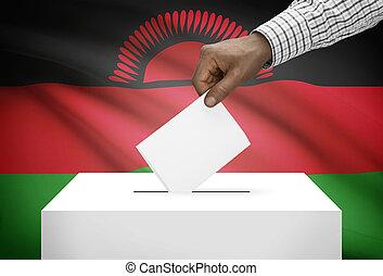 投票箱, 由于, 國旗, 在背景上, -, 馬拉維
