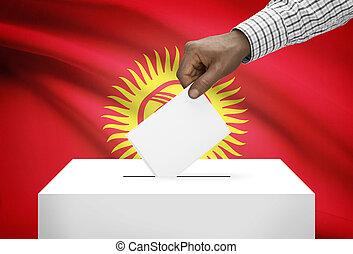 投票箱, 由于, 國旗, 在背景上, -, kyrgyzstan