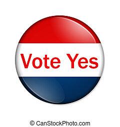 投票, はい, ボタン