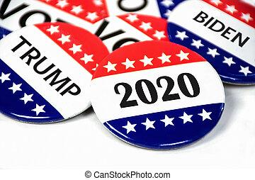 投票, キャンペーン, 2020, 大統領である, 選挙, ピン