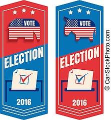 投票, セット, ベクトル, 旗