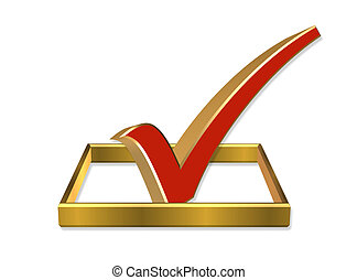 投票, チェックボックス, 3d