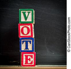 投票, ブロック, 中に, 教室