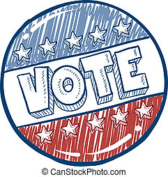 投票, ボタン, スケッチ, キャンペーン