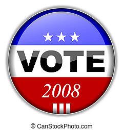 投票, ボタン, 2008