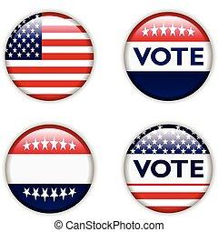投票, 徽章, 为, 美国