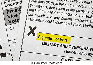 投票, 投票, presidentail, 署名