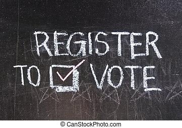 投票, 書かれた, 上に, 黒板
