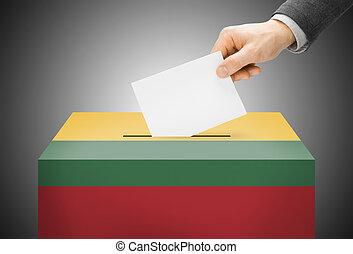 投票, 概念, -, 投票箱, 繪, 進, 國旗, 顏色, -, 立陶宛